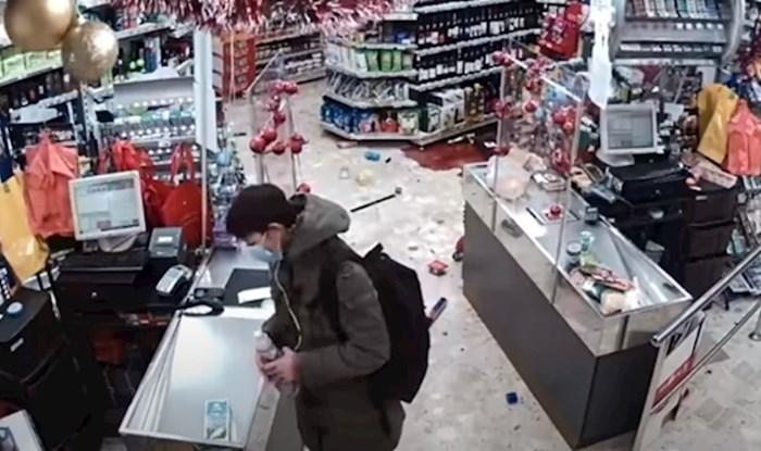 Nevjerojatna snimka: Usred potresa vratila se na blagajnu i ostavila stvari koje nije platila