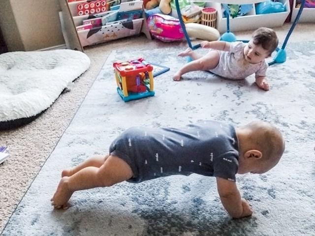 """1. """"Moja žena radi plankove po kući. Očito da je genetski, jer počeo ih je raditi i naš sin."""""""