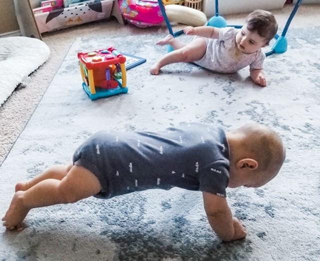 """9. """"Moja žena stalno radi plankove po kući, pa ju je naš sin odlučio kopirati."""""""