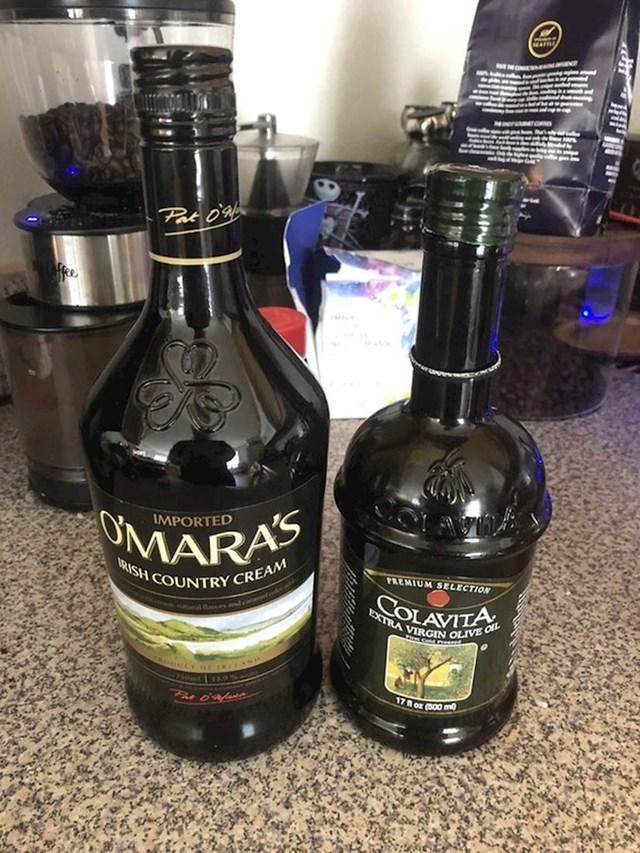 Nije se teško zabuniti kad su aroma za kavu i maslinovo ulje u ovako sličnim bocama.