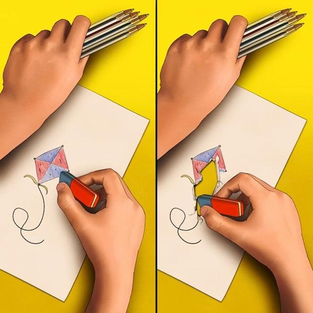 10. Pokušaj brisanja sa plavim dijelom gumice koji bi uvijek završio probijanjem papira