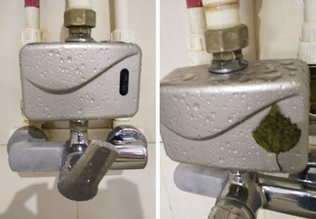 """4.  """"U javnom kupalištu postoje ograničavači vode. Voda se lije kad netko stoji pokraj nje. Dječak niži od tog uređaja došao je do tuša i napravio ovo. """""""