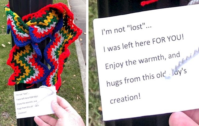 Netko je u parku ostavio više šalova za beskućnike.