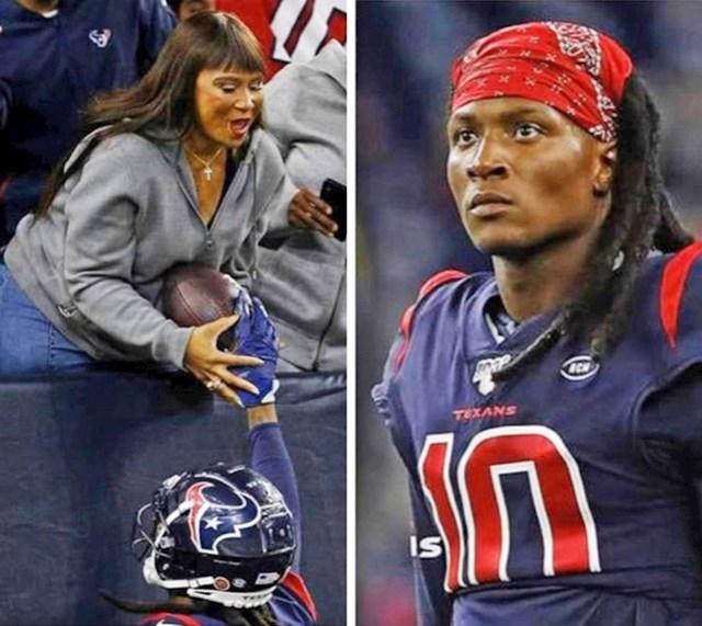 Svaki put kad DeAndre Hopkins postigne pogodak, on u publici nađe svoju mamu koja je izgubila vid prije mnogo godina i pokloni joj loptu. Jedna od najboljih tradicija u sportu.