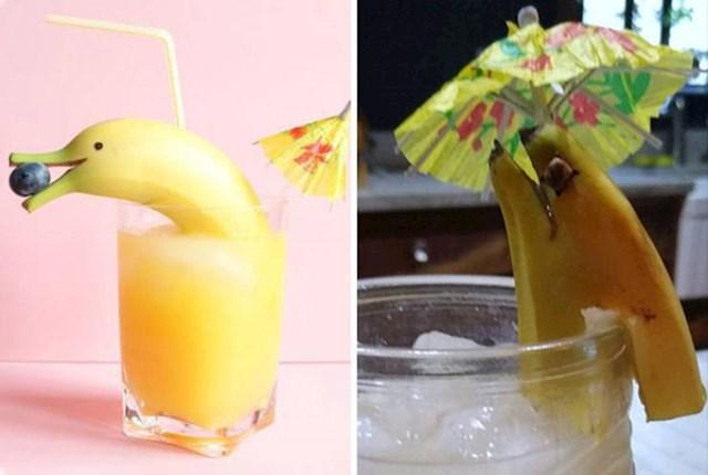 2. Muž ju je pokušao iznenaditi koktelom koji je trebao izgledati kao na lijevoj fotki. Na kraju je umjesto slatkog dupina u čaši jeziva jegulja.😆