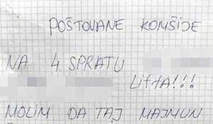 Ljutiti stanar s 4. kata ostavio je prijeteću poruku svim susjedima, pogledajte što ga je naljutilo