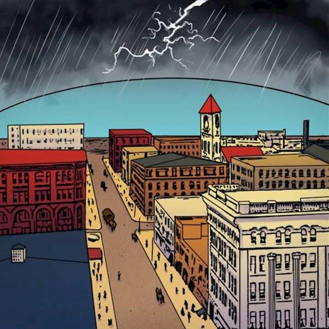 8. Također, mislilo se da će gradovi iznad sebe u budućnosti imati štitove koji ih zaklanjaju od vremenskih neprilika