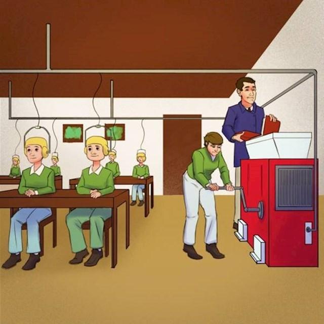 11. Totalno futuristički su zamišljali proces učenja u školi. Ipak nismo postali ovakvi roboti..😬