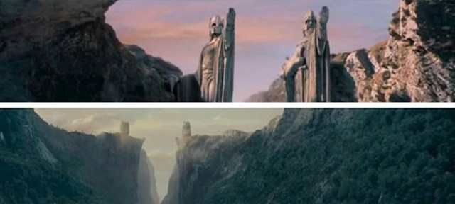 11. U Gospodaru prstenova kip kralja Isildur u jednoj sceni ima podignutu lijevu, a u drugoj desnu ruku