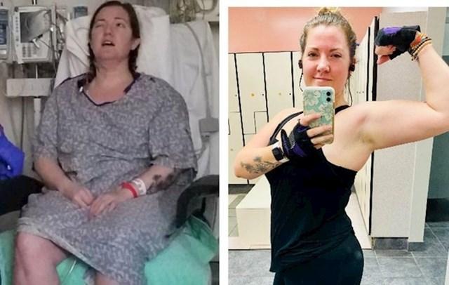 """""""9 mjeseci razlike između fotografija - na prvoj sam nakon operacije mozga, a na drugoj danas, kad ne dižem samo svoju djecu već i utege."""""""