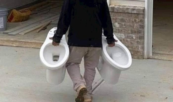 Majstor nije mogao nositi više od dvije wc školjke, pa je problem riješio na totalno sulud način
