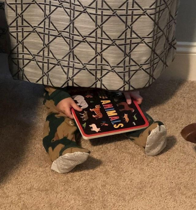 """6. """"Nije bio spreman za spavanje pa se sakrio i čitao svoju knjigu."""""""