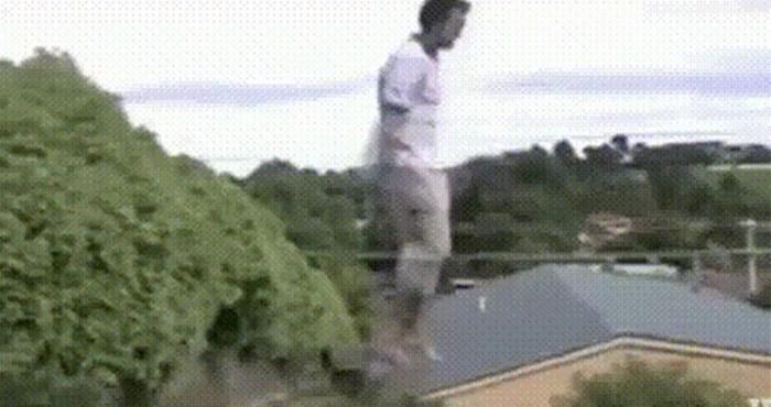 Nakon što je lik pao s trampolina, pas je iskoristio trenutak i napravio nešto presmiješno