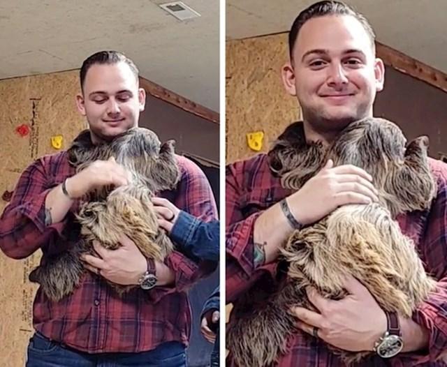 """4. """"Odveo sam najboljeg prijatelja u Zoološki vrt kako bi upoznao svoju najdražu životinju - ljenjivca! Njegovo lice govori sve!"""""""