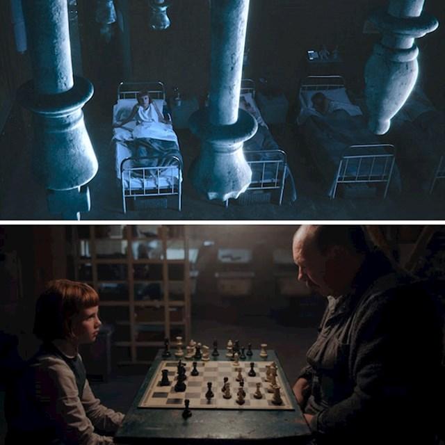 #13 Uvijek dok zamišlja šahovsku ploču na plafonu, Beth igra s figurama svojeg prvog učitelja, domara Shaibela.