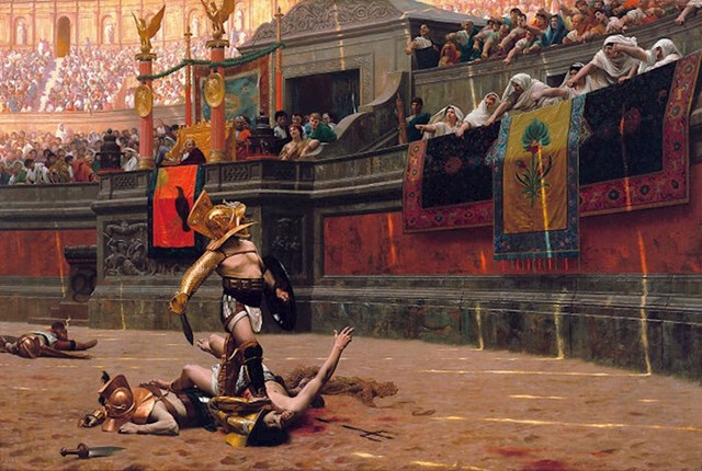 Publika je u rimsko doba nerijetko nakon smrti jednog od gladijatora znala popiti njegovu krv. Vjerovalo se da će tako apsorbirati njegove sposobnosti i snagu.