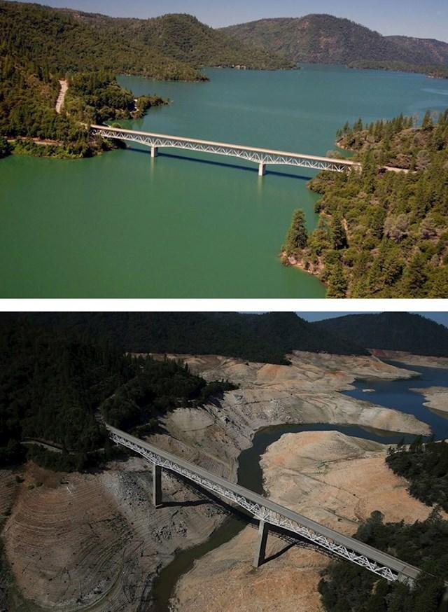 15. Kalifornijsko jezero Oroville, snimljen 2010. i 2016.