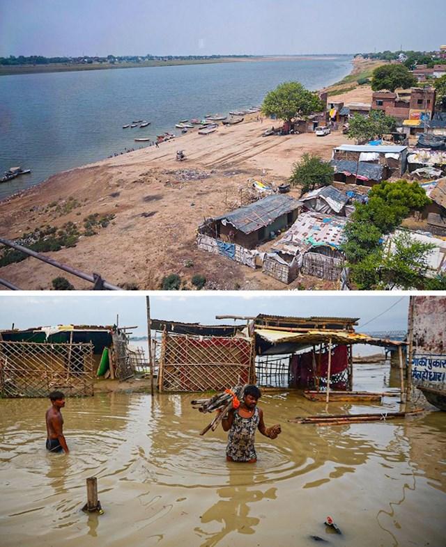 10. Poplava indijske rijeke Ganges uništila je živote ionako siromašnih stanovnika tog područja.