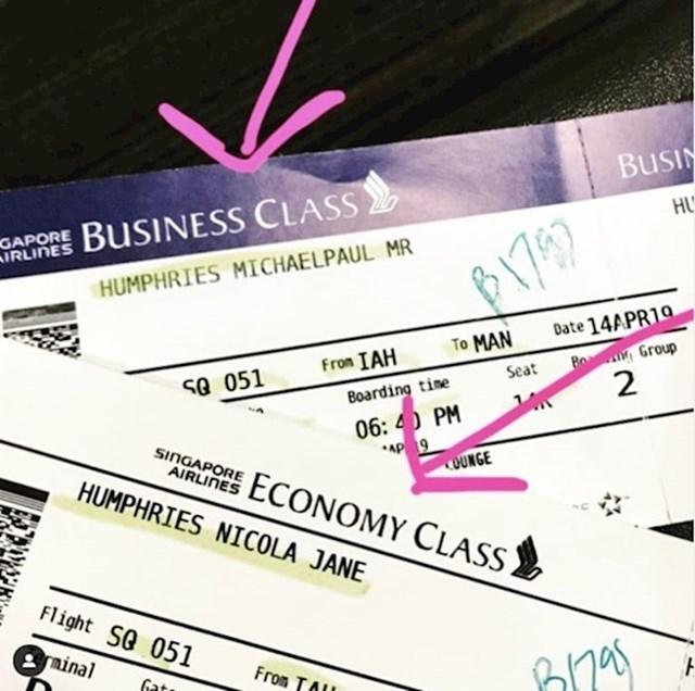 Ovaj suprug slučajno je kupio kartu u ekonomskoj klasi za suprugu i kartu u poslovnoj klasi za sebe.