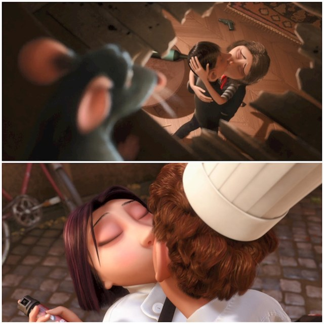 #7 U filmu Ratatouille (2007) Remy vidi kako muškarac ljubi ženu nakon svađe. Kasnije, kad se Colette naljuti, Remy je poljubi na isti način da je smiri.