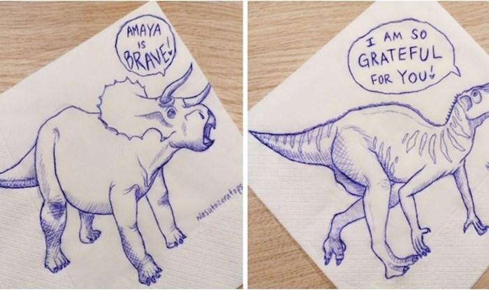 Ova mama na salvete kćeri crta dinosaure s prekrasnim porukama