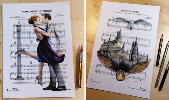 Ova umjetnica ilustrira popularnu scenu, likove i poznate osobe na notnim listovima