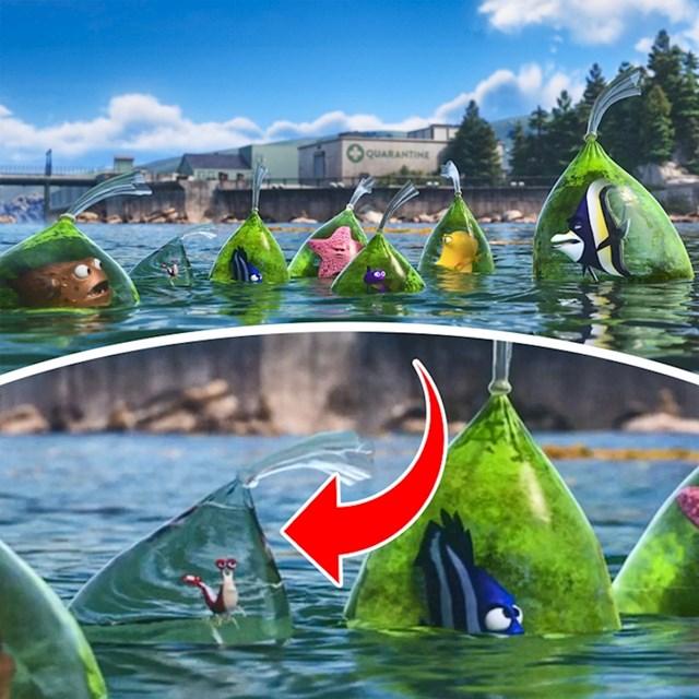 #10 U flimu Potraga za Nemom (2003.), vrećica s kozicom je jedina koja je potpuno čista jer je on čistać i jede bakterije.
