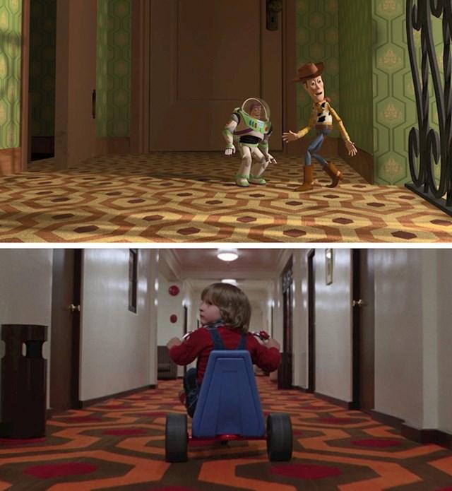 #4 U Toy Storyu (1995.) uzorak tepiha u Sidovoj kući potpuno je isti kao pod u filmu The Shining (1980).