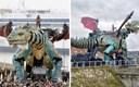 Građani Calaisa svjedočili su 25 metara visokom mehaničkom zmaju kojeg pokreće 17 ljudi