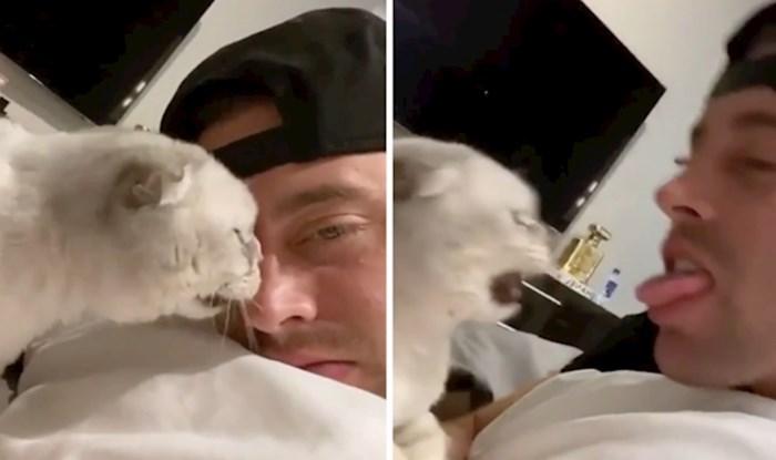 Pogledajte urnebesnu reakciju mačke kad je vlasnik pokuša poljubiti natrag