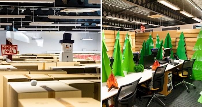 Zaposlenike ove tvrtke iznenadio je ured pretvoren u divovski labirint zimske zemlje čudesa