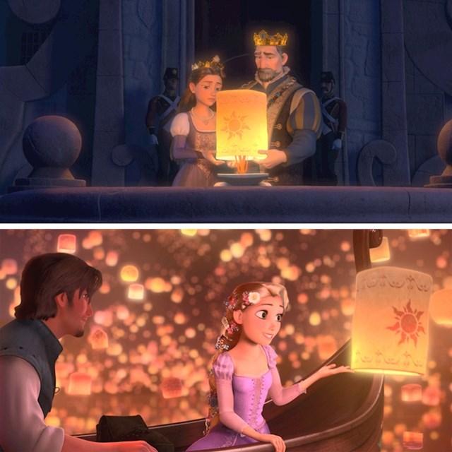 #11 U filmu Vrlo zapetljana priča (2012) leteći lampion koji su pustili Rapunzelovi roditelji, u jednom trenutku dođe i do nje.