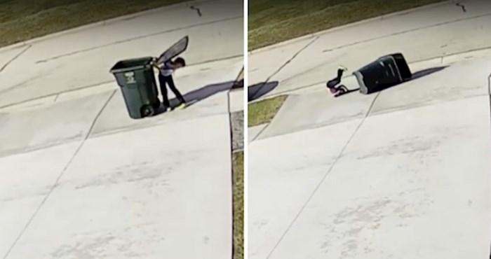 Dječak protiv kante za smeće, poklopac i vjetrovito vrijeme nisu ga štedjeli