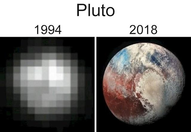 Naše promatranje drugih objekata u svemiru poprilično se poboljšalo, a ove slike Plutona dobar su primjer.