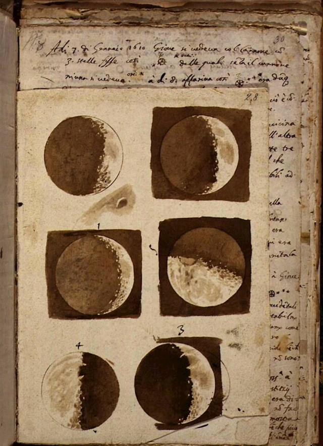 Prvi crteži Mjeseca koje je napravio Galileo Galilei nakon što ga je promatrao svojim teleskopom 1609. godine.