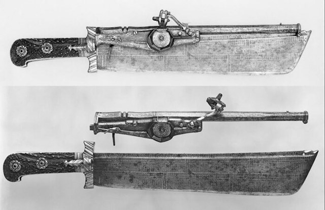 Njemački lovački nož koji je također pištolj, ali i kalendar. (1528-29)