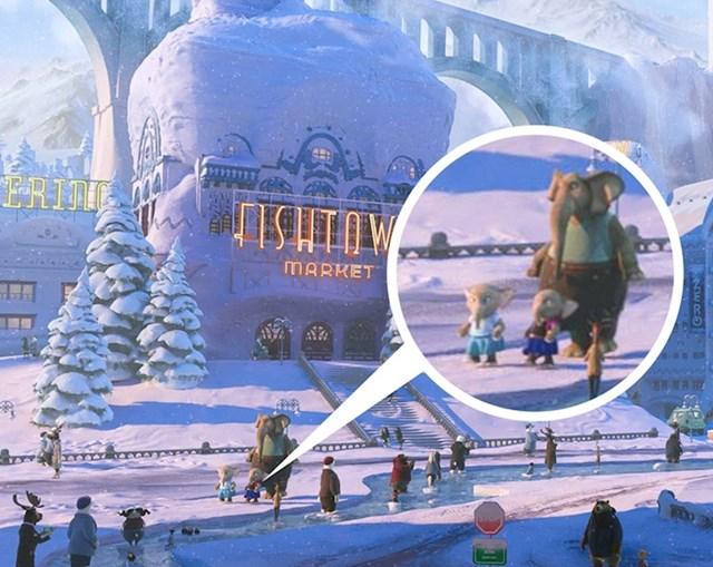 #13  U Zootopia (2016) možete uočiti 2 slonića koji nose kostime Anne i Else iz filma Frozen (2013).