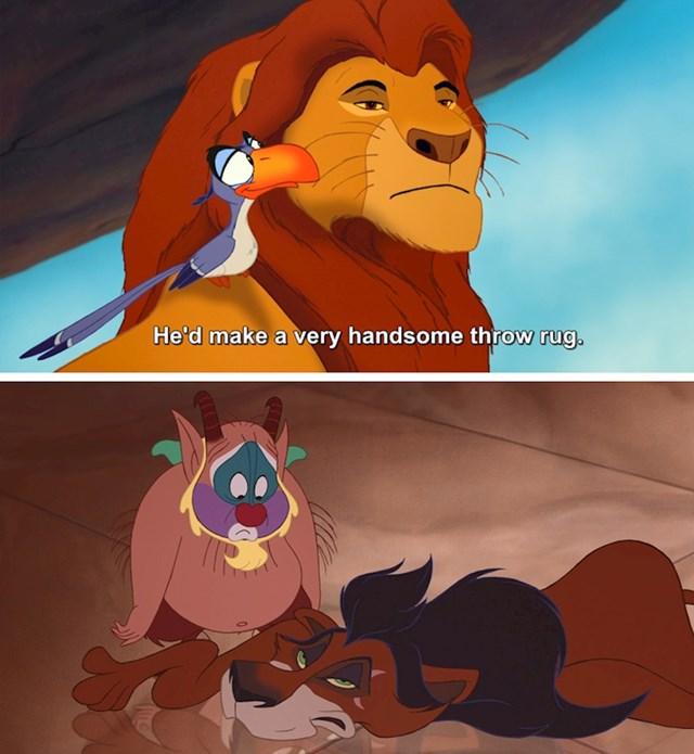 #3 U filmu Kralj Lavova (1994) Zazu kaže da bi Scar bio lijepa prostirka. Upravo tako se pojavljuje u Herculesu (1997).