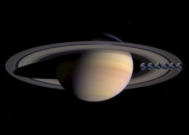 Ovo je Saturn i ovdje možete vidjeti koliko je velik u odnosu na Zemlju (ili 6 njih).