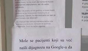 Doktorica je ostavila poruku svim pacijentima koje se vole liječiti pomoću Googlea