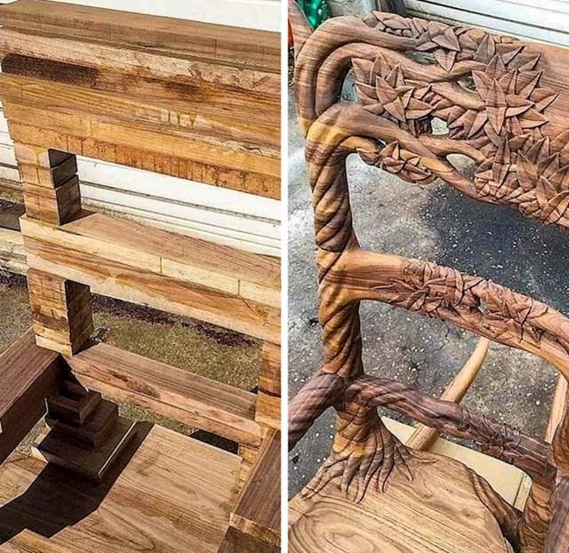 #13 Drveni stolac prije i poslije.