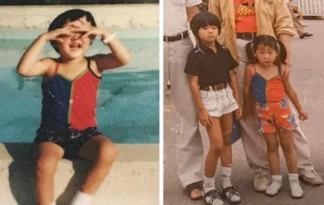 """""""Moja fotografija iz djetinjstva u Sjedinjenim Državama i od supruge u Koreji, nosimo istu majicu bez rukava."""""""