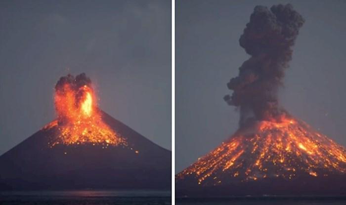 VIDEO Pogledajte kako izgleda spektakularna noćna erupcija vulkana Krakataua