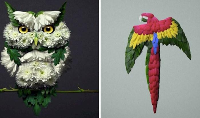 17 fotografija umjetnik koji koristi cvijeće za skulpture životinja, a rezultati su zadivljujući