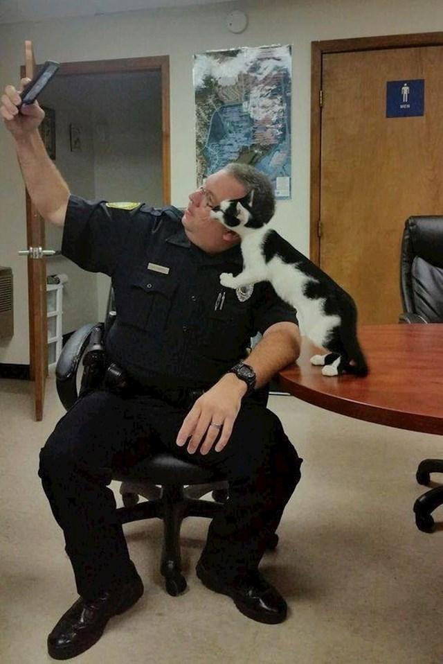 Mačka lutalica ušetala je u policijsku stanicu, i nikad više nije izašla :)