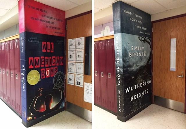 Zidovi u ovoj školi pretvoreni su u divovske knjige.