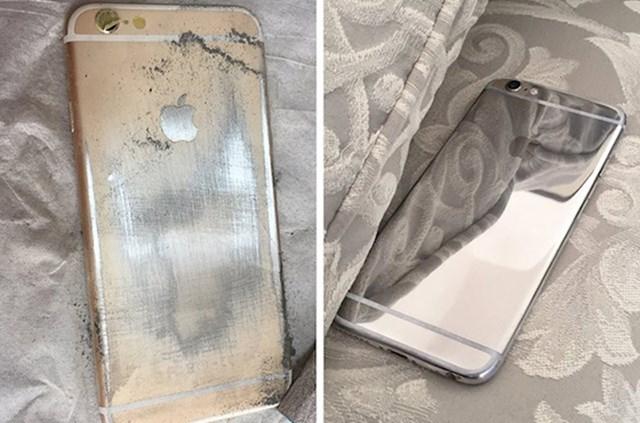 Mobitel joj je bio izgreban pa je malo po malo maknula zlatni sloj i ispolirala svoj iPhone. Na kraju je izgledao još bolje.