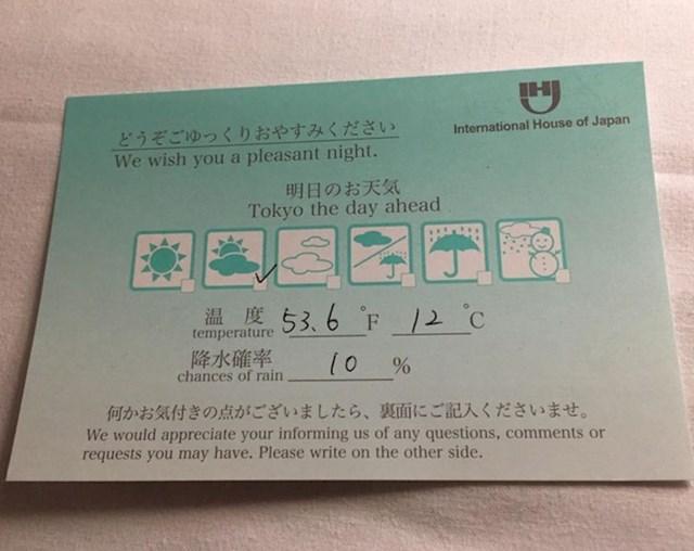 """""""Osoblje hotela u Tokiju ostavilo mi je bilješku s detaljima sutrašnje prognoze."""""""
