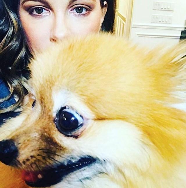 7. Kate Beckinsale je u redu s psom koji joj krade reflektore.