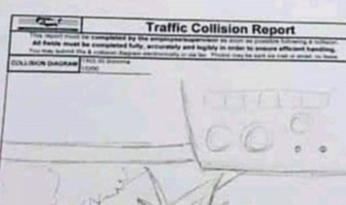 Pogledajte urnebesni izvještaj vozača o prometnoj nezgodi u obliku crteža